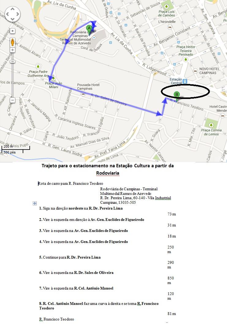 Trajeto Rodoviaria Campinas a estacionamento Estacao cultura